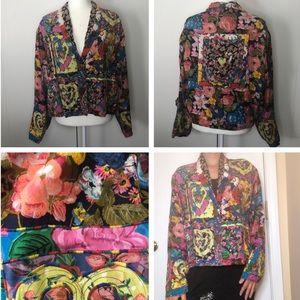 Vintage bohemian cottagecore patchwork blazer
